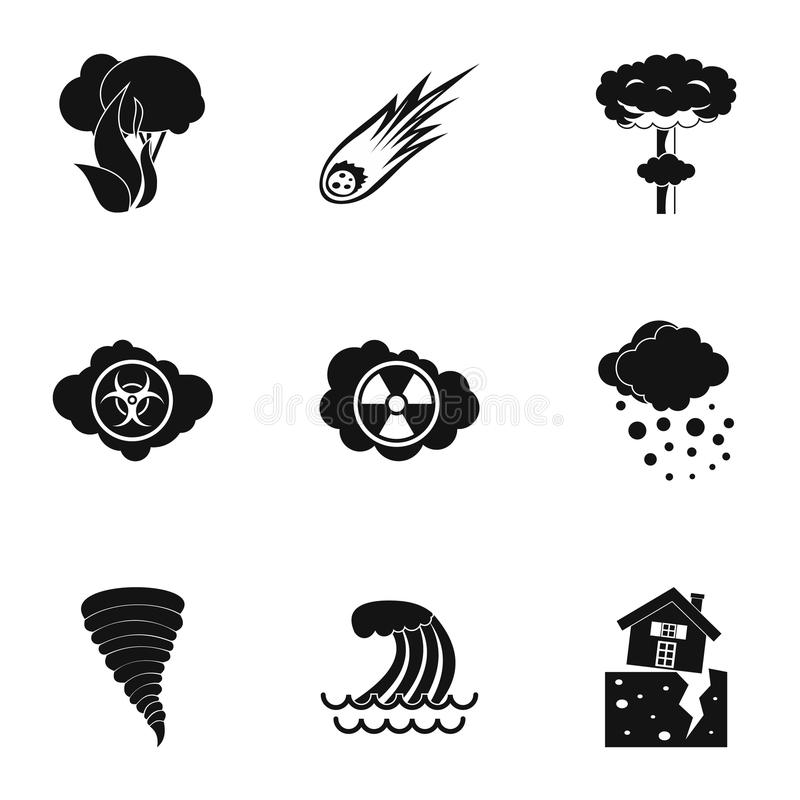 Natural catastrophe icons set, simple style. Natural catastrophe icons set. Simple illustration of 9 natural catastrophe icons for web vector illustration