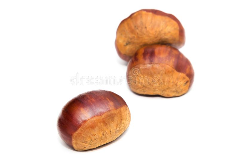 Natural chestnuts isolated. In white stock photo