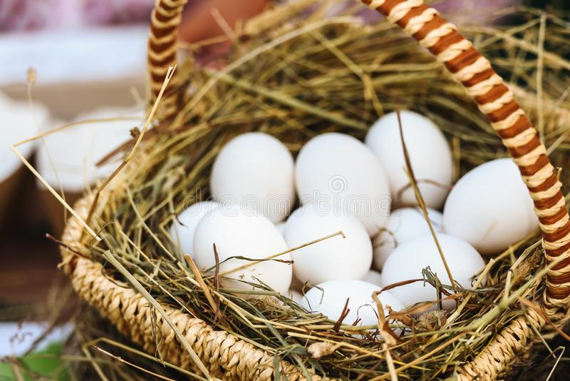 Natural chicken eggs, autumn market-the concept of harvest and farm products. stock photos