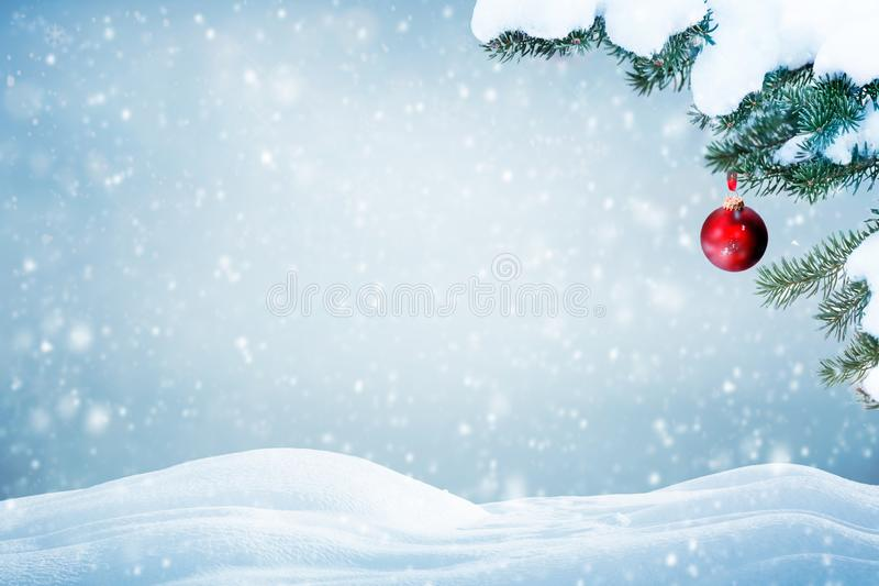 Natural Christmas background falling snow royalty free stock photos