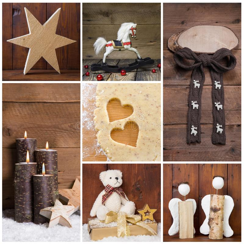Natural christmas decoration with wood. Different objects in square format. stock images