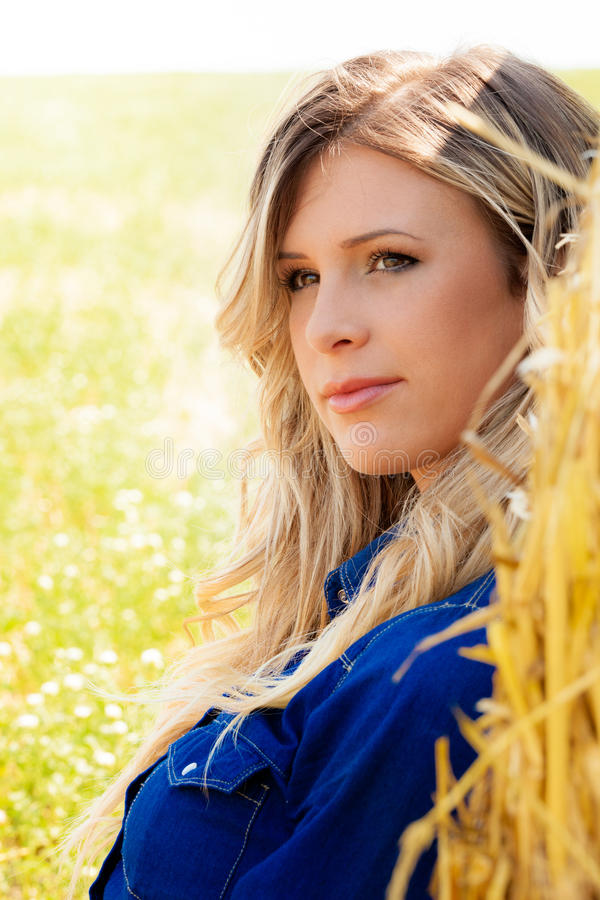 Natural clean portrait beautiful blonde model girl, country woman stock photos