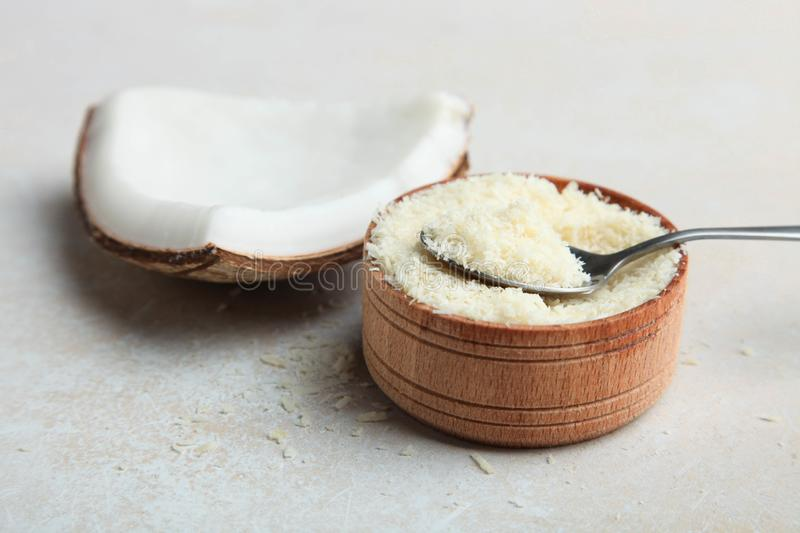 Natural coconut and coconut chips royalty free stock images