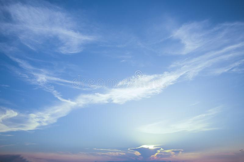 Natural colors Evening sky  new day  for Heaven,The light from heaven from the sky is a mystery,In twilight golden atmosphere. Natural colors Evening sky Shine stock photography