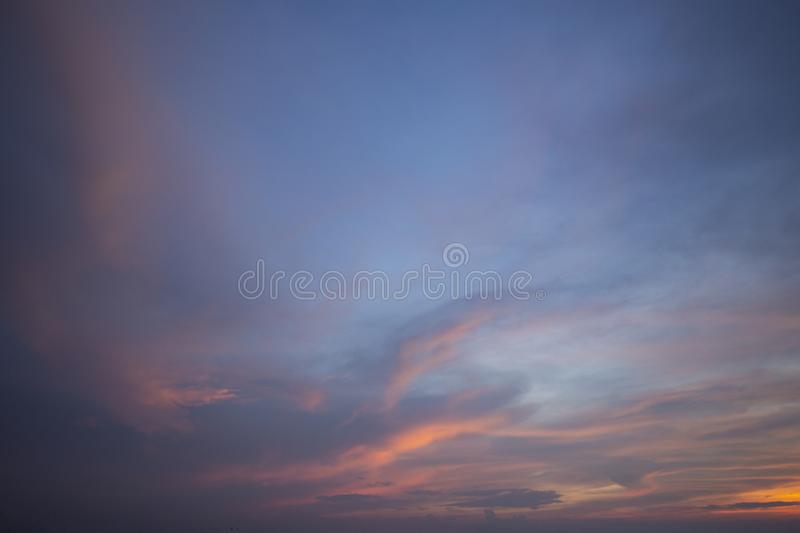 Natural colors Evening sky Shine new day  for Heaven,The light from heaven from the sky is a mystery,In twilight golden atmosphere. Modern sheet structure royalty free stock photos