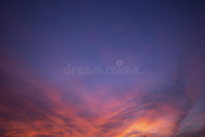 Natural colors Evening sky Shine new day  for Heaven,The light from heaven from the sky is a mystery,In twilight golden atmosphere. Modern sheet structure royalty free stock photo