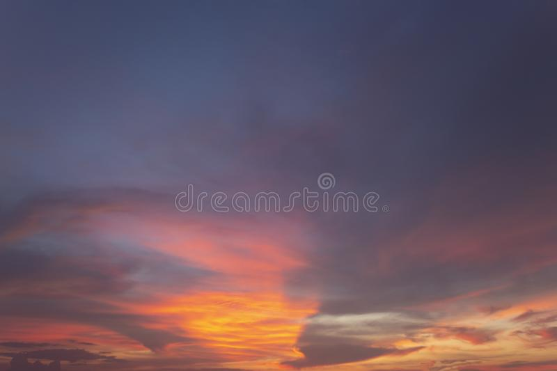 Natural colors Evening sky Shine new day  for Heaven,The light from heaven from the sky is a mystery,In twilight golden atmosphere. Modern sheet structure stock photo