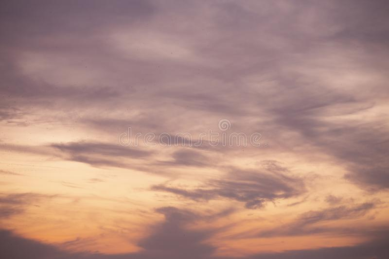 Natural colors Evening sky Shine new day  for Heaven,The light from heaven from the sky is a mystery,In twilight golden atmosphere. Modern sheet structure royalty free stock photography