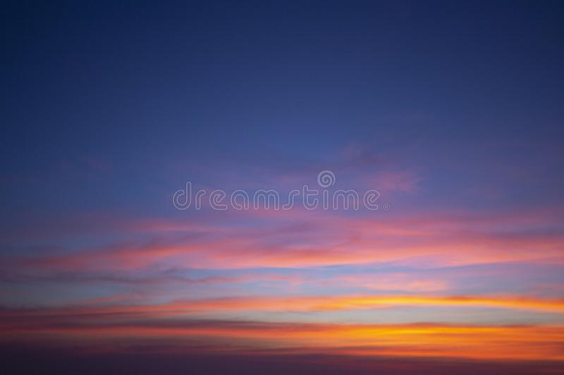 Natural colors Evening sky Shine new day  for Heaven,The light from heaven from the sky is a mystery,In twilight golden atmosphere. Natural colors Evening sky royalty free stock images