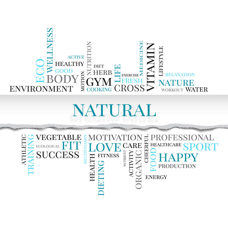 NATURAL concept related words in tag cloud. With different association organic and healthy terms. The effect of torn paper. Vector royalty free illustration