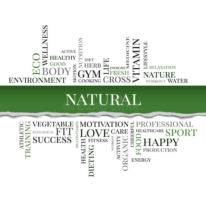 NATURAL concept related words in tag cloud. Vector. NATURAL concept related words in tag cloud with different association organic and healthy terms. The effect stock illustration