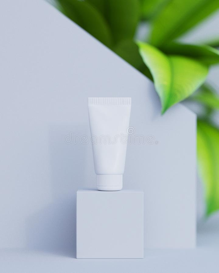 Natural cosmetic cream , serum, skincare blank bottle packaging with leaves herb, wood . bio organic product.beauty and. Spa concept royalty free stock photos