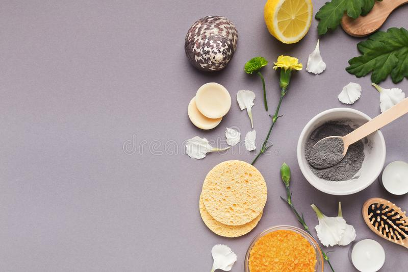 Natural cosmetic mask with different spa products royalty free stock photo