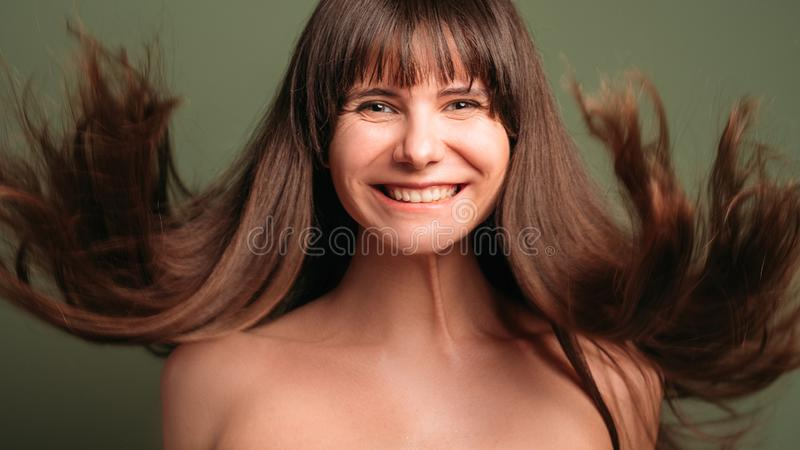 Healthy strong hair natural cosmetic products stock images