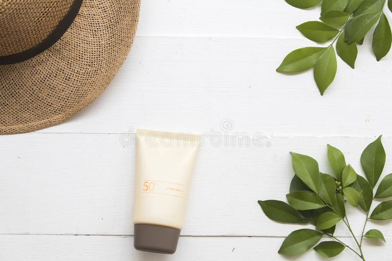 Natural cosmetic for skin face sunscreen spf50 of woman stock image