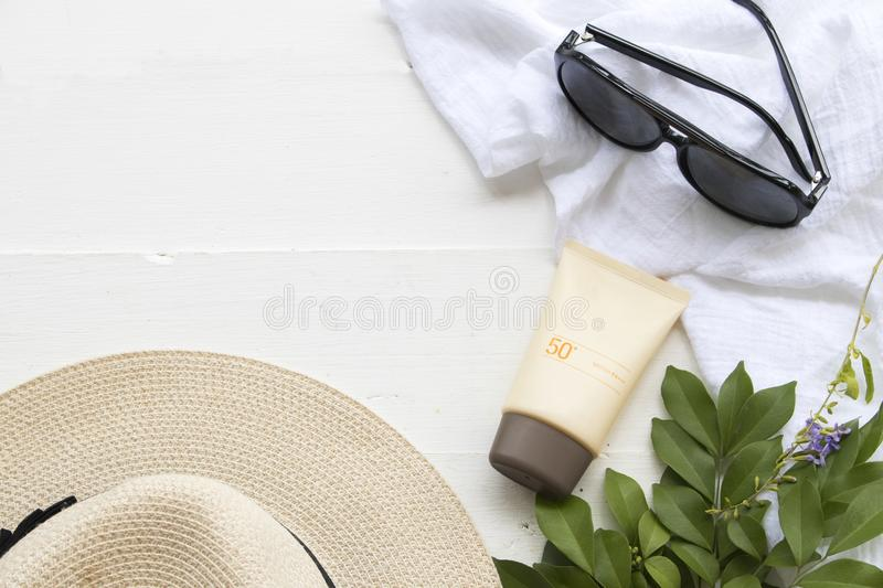 Natural cosmetic for skin face sunscreen spf50 of woman stock photos
