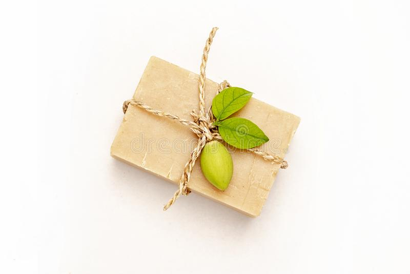 Natural cosmetic and wellness concept. Organic soap on white background, natural soap, beauty, spa, therapy, Natural handmade soap royalty free stock image