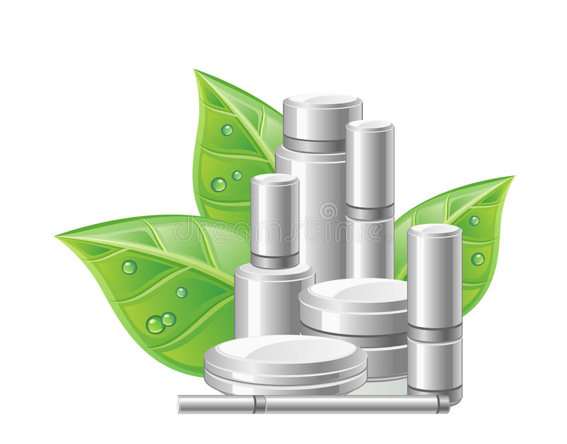Natural cosmetics. With green leaves on a white background vector illustration