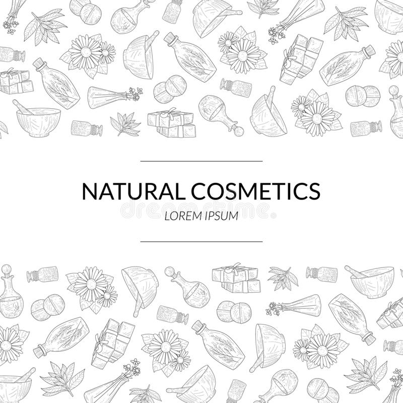 Natural Cosmetics Banner Template, Eco Organic Beauty Care Products Hand Drawn Pattern, Design Element Can Be Used for. Packaging, Label, Branding Identity royalty free illustration