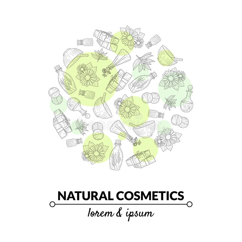 Natural Cosmetics Banner Template, Eco Organic Hand Drawn Products, Design Element Can Be Used for Packaging, Label. Branding Identity, Brochure Vector vector illustration