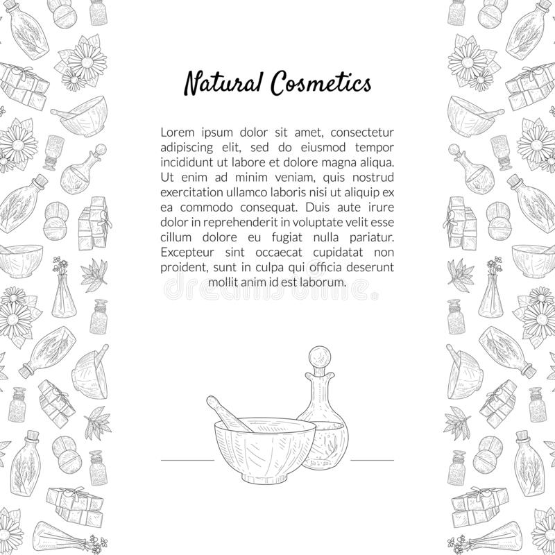 Natural Cosmetics Banner Template with Place for Text and Eco Organic Beauty Care Products Hand Drawn Pattern, Design. Element Can Be Used for Packaging, Label royalty free illustration