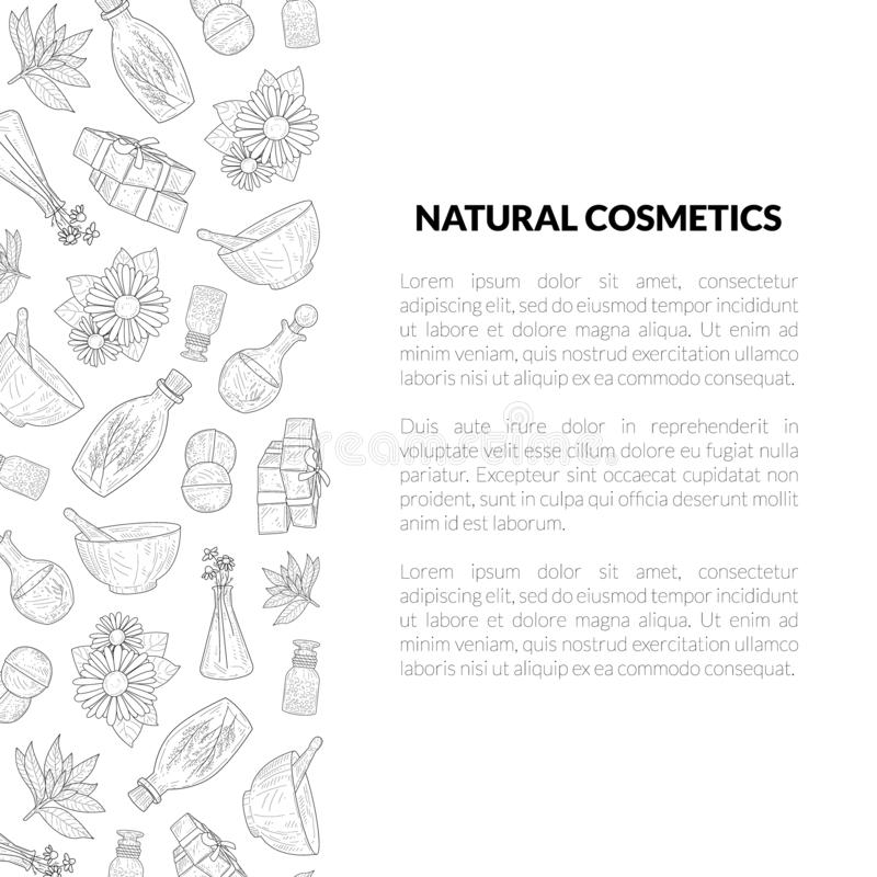 Natural Cosmetics Banner Template with Place for Your Text, Eco Organic Cosmetic Elements Hand Drawn Vector Illustration. On White Background vector illustration