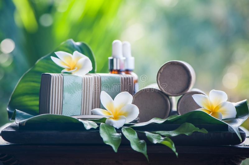 Natural cosmetics on a beautiful tropical background. royalty free stock photo
