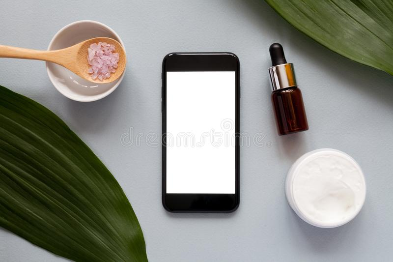 Organic cosmetics concept, top view royalty free stock photo