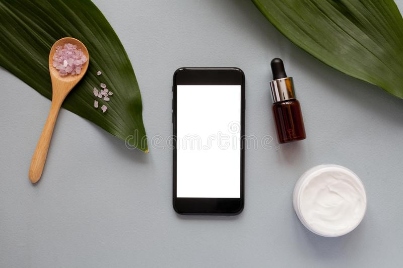 Organic cosmetics concept, top view stock image