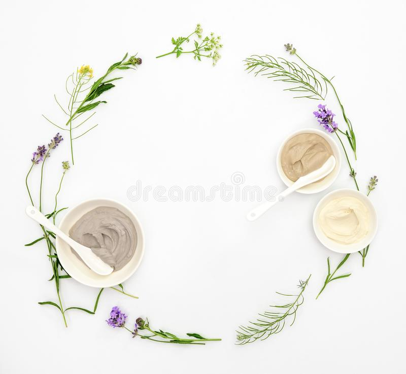 Natural cosmetics set with various kinds of cosmetic clays and h stock photography