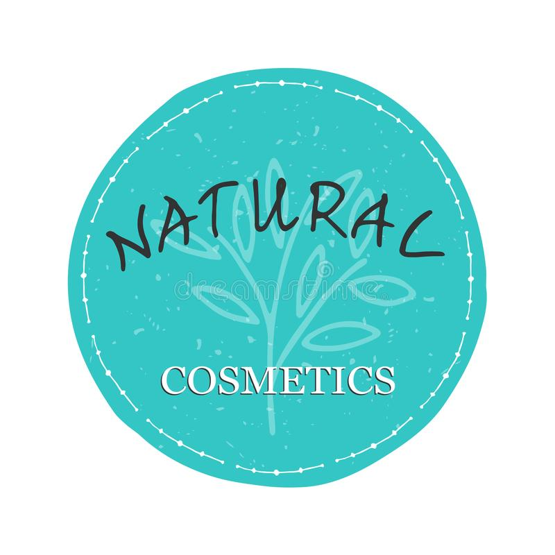Natural cosmetics design element. Blue sticker with the words Natural Cosmetics stock illustration