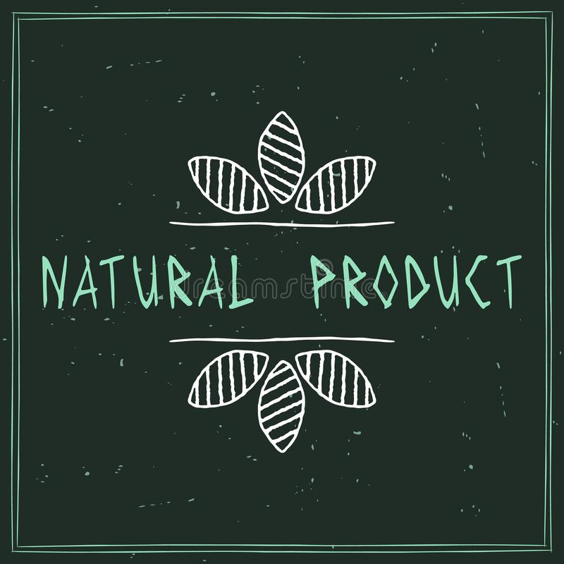Natural cosmetics design element. Blue sticker with the words Natural Cosmetics royalty free illustration