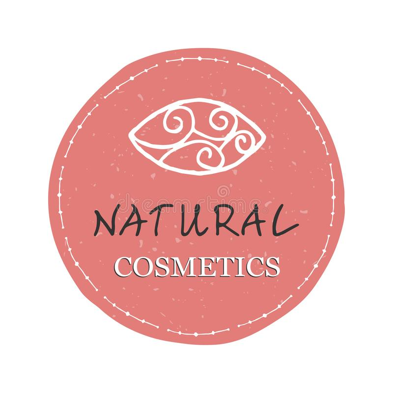 Natural cosmetics design element. Pink sticker with the words Natural Cosmetics vector illustration