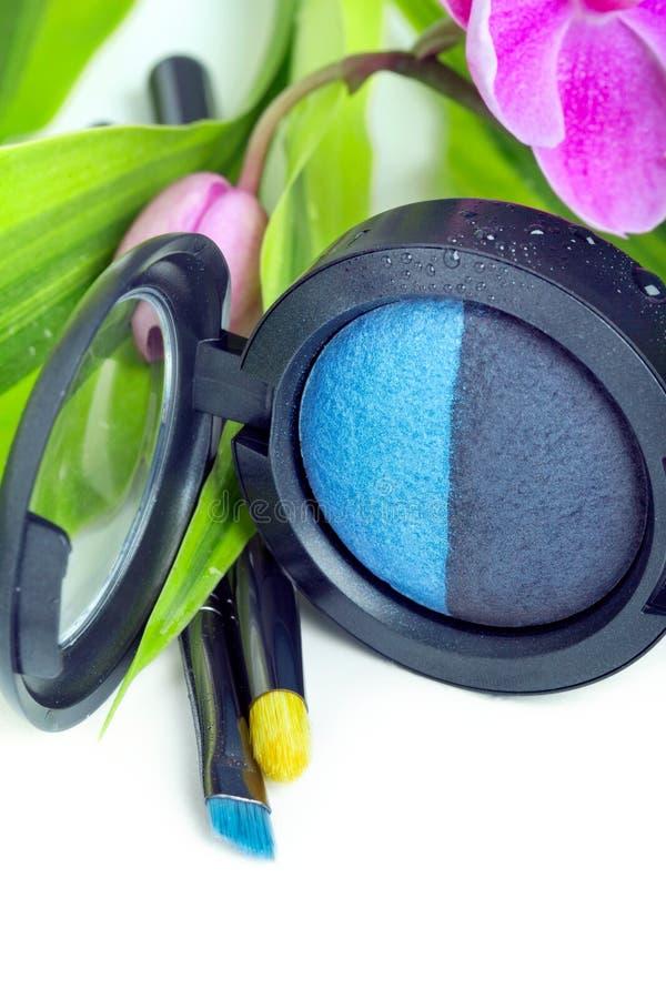 Download Natural Cosmetics: Eyeshadows And Makeup Brushes Stock Image - Image: 22136415