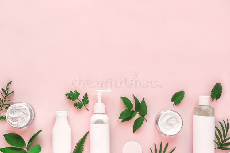 Natural cosmetics and leaves royalty free stock photo