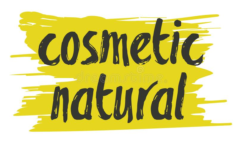 Natural cosmetics hand drawn isolated label. Natural cosmetics hand drawn label isolated vector illustration. Natural beauty, healthy lifestyle, eco spa, bio stock illustration