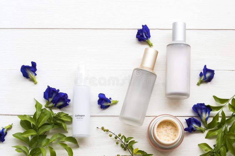 Natural cosmetics health care for skin face beauty of lifstyle woman. Eyes cream ,collagen water spray ,toners serum therapy cosmetics health care for skin face royalty free stock image