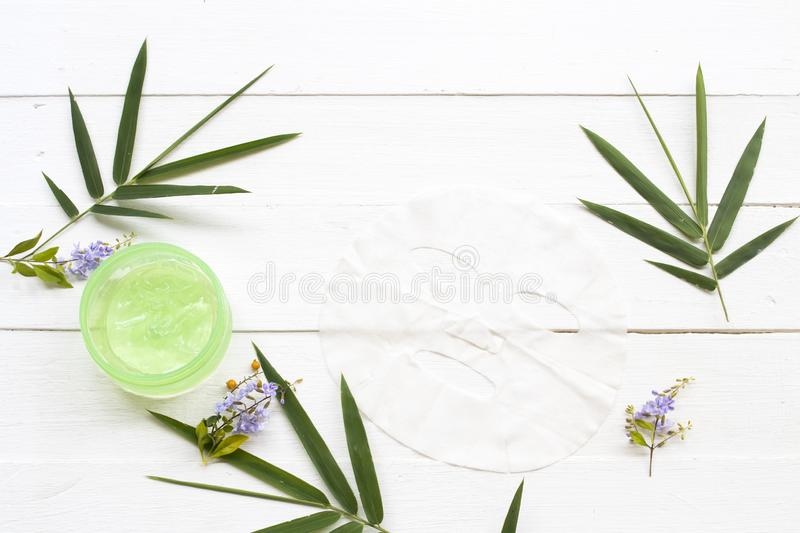 Natural cosmetics herbal aroma sheet mask ,soothing gel and soap extract herbal bamboo stock image