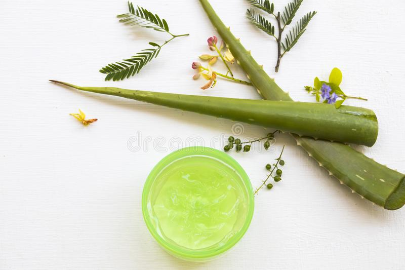 Natural cosmetics herbal aroma soothing gel extract herbal aloe vera health care for skin face stock image