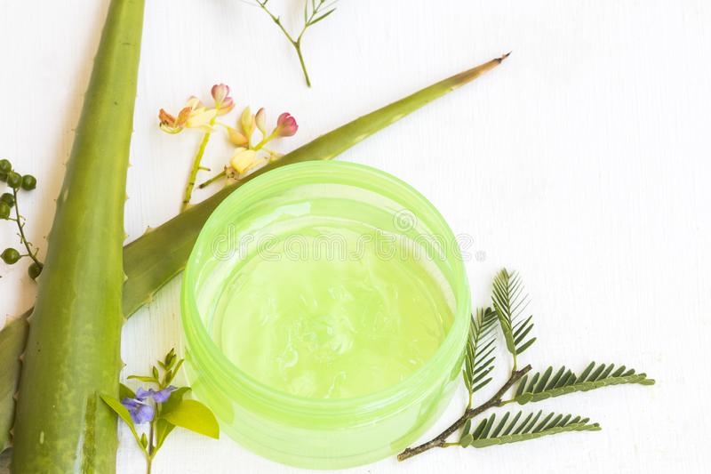 Natural cosmetics herbal aroma soothing gel extract herbal aloe vera health care for skin face royalty free stock photography
