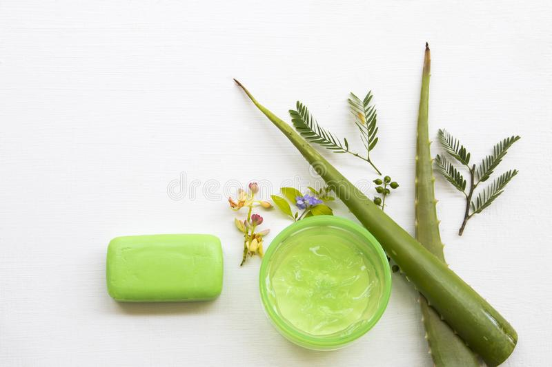 Natural cosmetics herbal aroma soothing gel extract herbal aloe vera health care for skin face royalty free stock photos