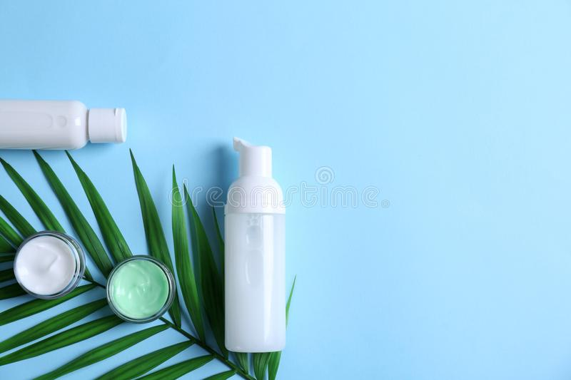 Natural cosmetics and leaf stock photography