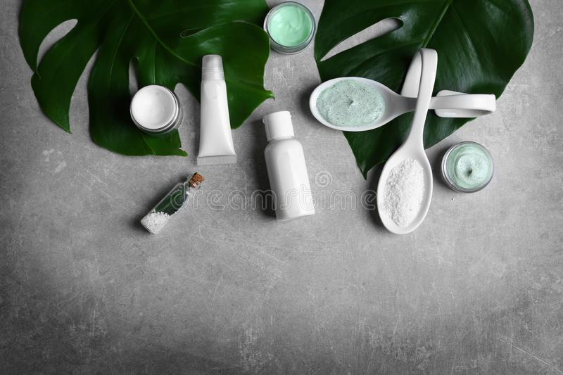 Natural cosmetics and leaves stock photo