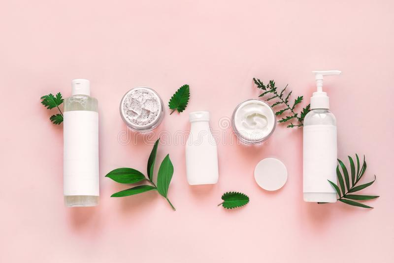 Natural cosmetics and leaves royalty free stock photography