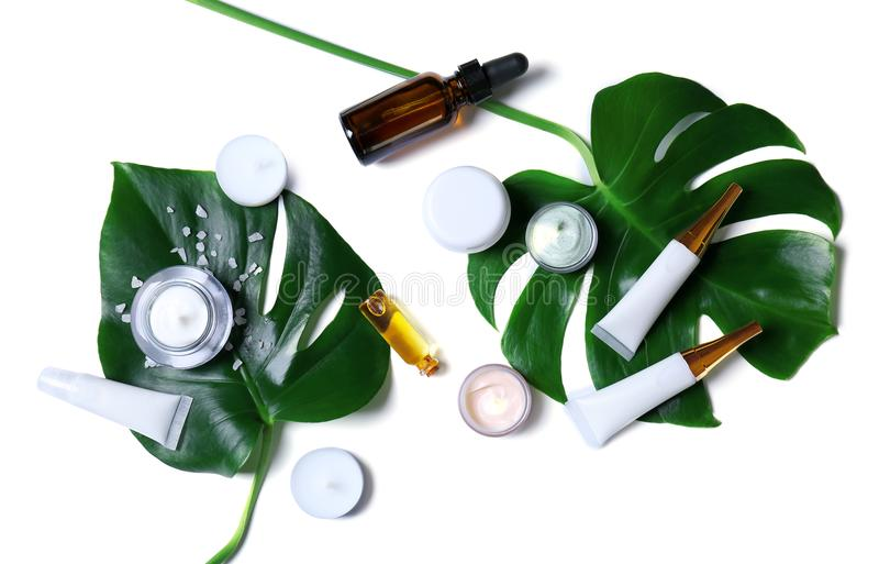 Natural cosmetics and leaves royalty free stock image