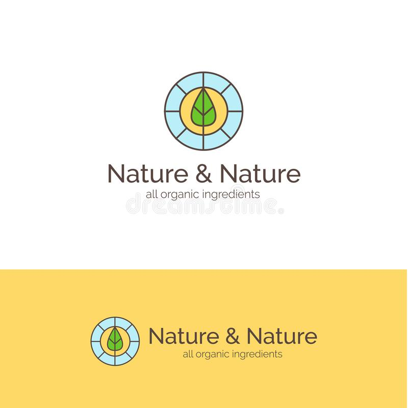 Natural cosmetics line style logo. Vector symbol with leaf. Natural cosmetics line style logo design. Vector symbol with leaf stock illustration