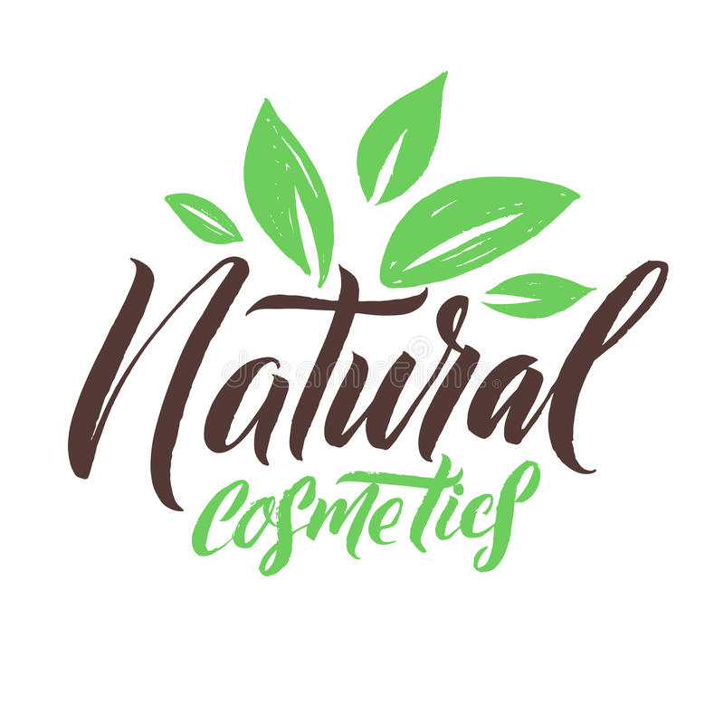 Natural Cosmetics. Logo Beauty Vector Lettering. Custom handmade calligraphy. Vector Illustation. royalty free illustration