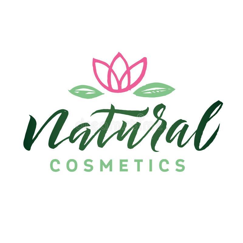 Natural Cosmetics. Logo Beauty Vector Lettering. Custom handmade calligraphy. Vector Illustation royalty free illustration