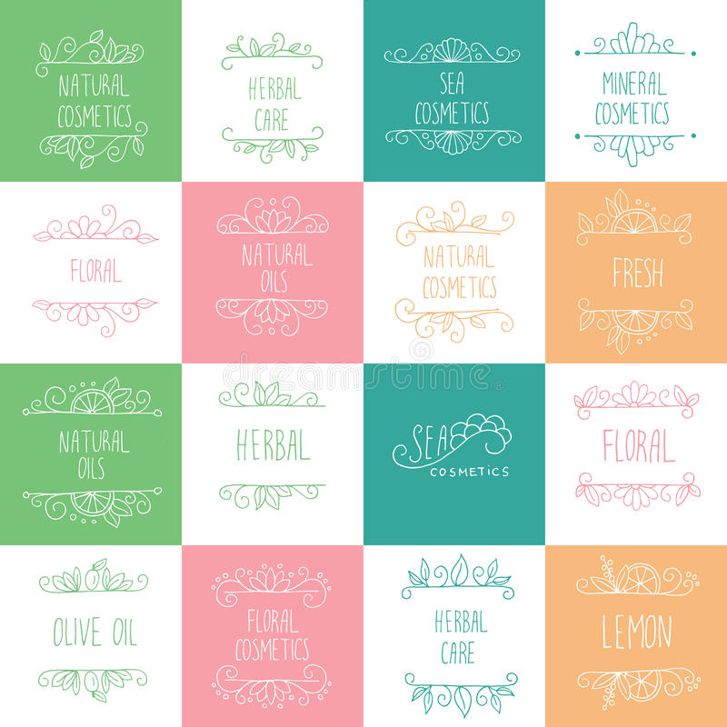 Natural Cosmetics Logos, Branding, Labels. Cosmetology and Beaut. Y Hand Drawn Design Elements stock illustration