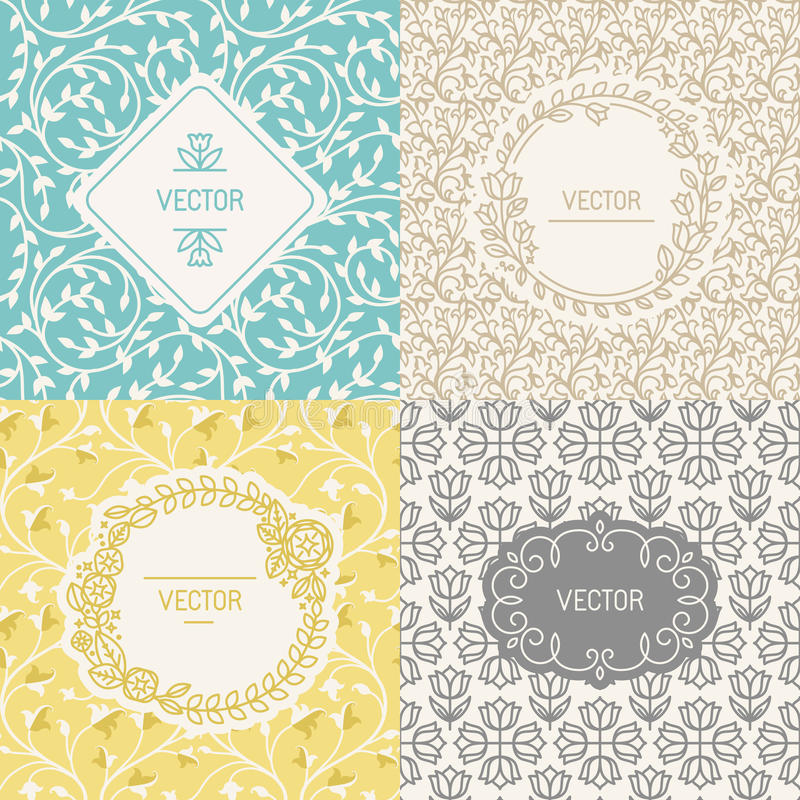 Natural cosmetics packaging. Vector set of design elements, borders and frames, seamless patterns for natural cosmetics packaging - abstract backgrounds with stock illustration